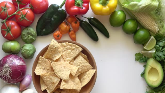tortilla chips and guacamole dip - mexican food stock videos & royalty-free footage