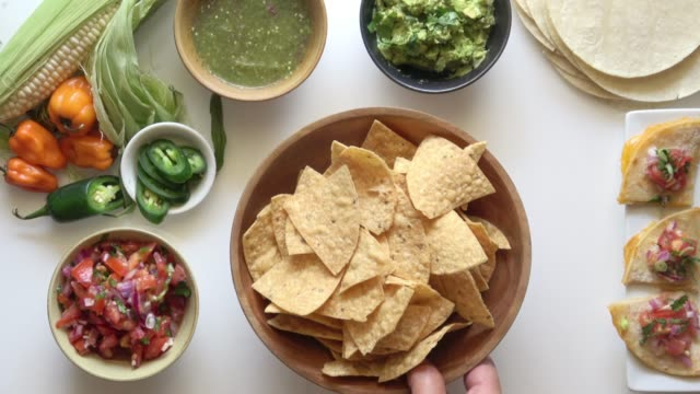 tortilla chips and salsa. - snack stock videos & royalty-free footage