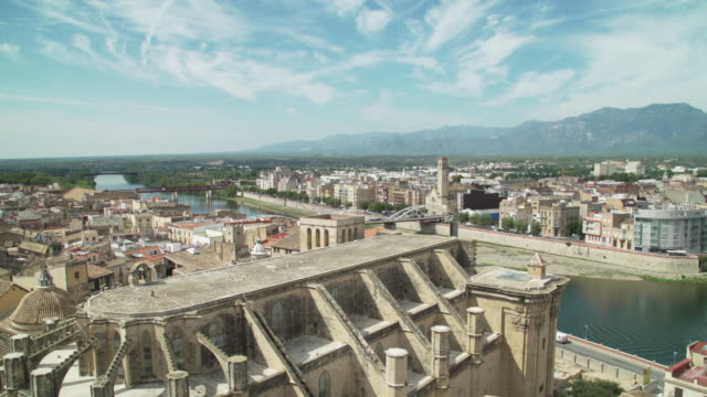 tortosa, spanish city, from high angle point of view - high point video stock e b–roll