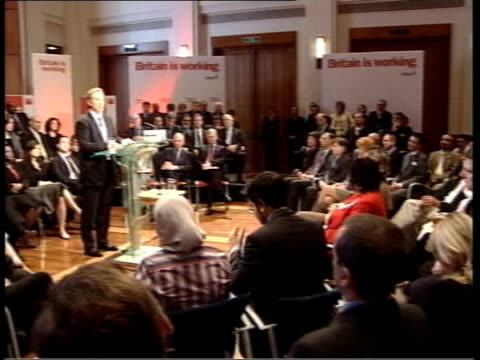Torture allegations against British troops UK People at Labour Party rally PAN Prime Minister Tony Blair MP at podium CMS Tony Blair MP speaking SOT...