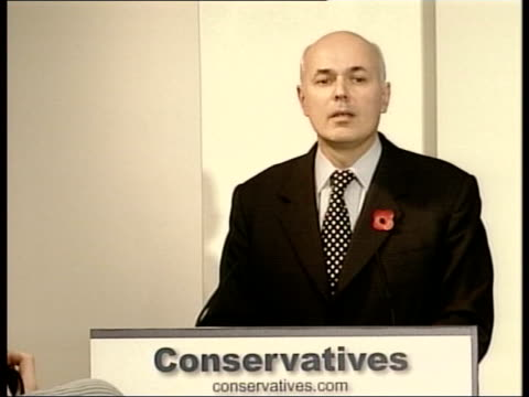 tory leadership backgrounder; england: london: int iain duncan smith mp to podium & speech sot - message is simple - unite or die ext duncan smith... - unity stock videos & royalty-free footage
