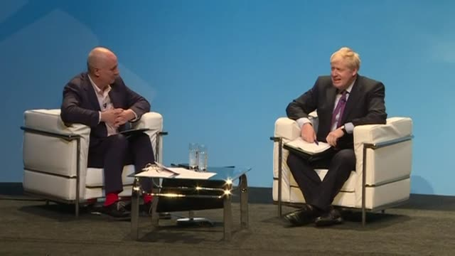 tory leadership candidate boris johnson is asked during an interview at an event in birmingham about the police being called to his london home - midlands occidentali video stock e b–roll