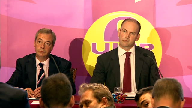 vídeos y material grabado en eventos de stock de tory mp douglas carswell press conference announcing his defection to ukip; farage and carswell q&a session continued sot / end of press conference - abandonar