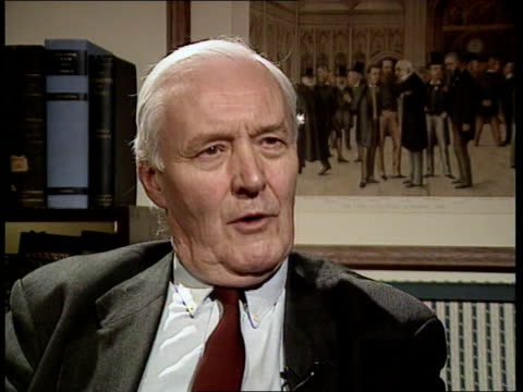 tory party advertising campaign; cms tony benn mp intvwd sot -people want jobs, peace and free health care/ when we put that in the manifesto we used... - トニー ベン点の映像素材/bロール