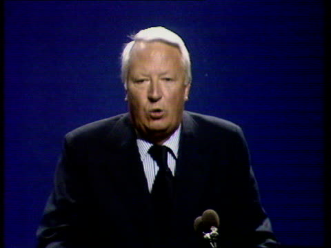 """tory party conference - edward heath on undermining pay policy; england: brighton cms edward heath, sof: """"i listened yesterday to... ....ours 1974.""""... - エドワード ヒース点の映像素材/bロール"""