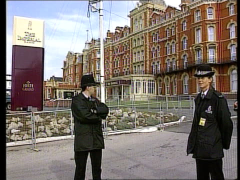 Law and order / leadership rules GRANADA ENGLAND Blackpool Policeman woman on security duty outside The Imperial hotel MS Police patrol along...