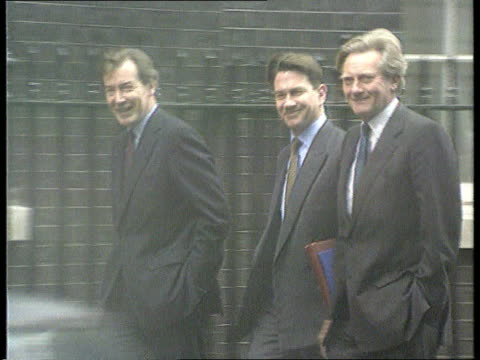 Gillian Shephard Condems Canvassing ITN London Westminster SEQ Ian Lang MP Michael Portillo MP and Michael / Heseltine MP along and into No 10
