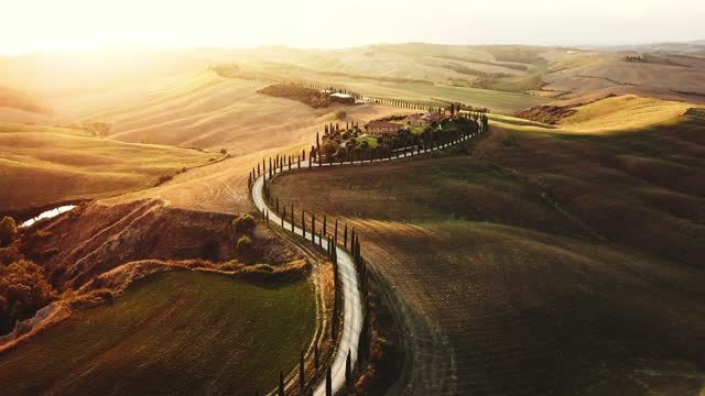toscana landscape aerial view - dusk stock videos & royalty-free footage