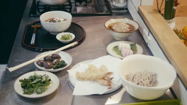 toshikoshi soba year-crossing noodles in the kitchen - shiitake stock videos & royalty-free footage