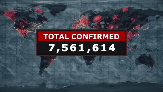 total confirmed virus graphic, novel coronavirus ncov spreading all over the world, worldwide flu epidemic spreads every continent, global deadly viral infection, satellite view of influenza virus affected areas. - computer virus stock videos & royalty-free footage