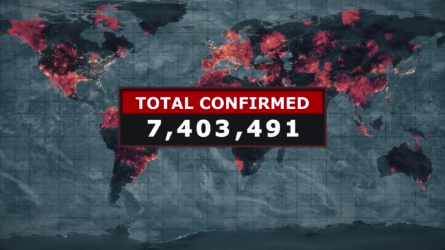 total confirmed virus graphic, novel coronavirus ncov spreading all over the world, worldwide flu epidemic spreads every continent, global deadly viral infection, satellite view of influenza virus affected areas. stock video - number stock videos & royalty-free footage