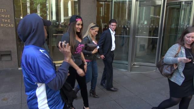 'Total Divas' stars WWE professional wrestlers Natalie Evamarie and Nickki Bella at SiriusXM Satellite Radio in New York City at Celebrity Sightings...