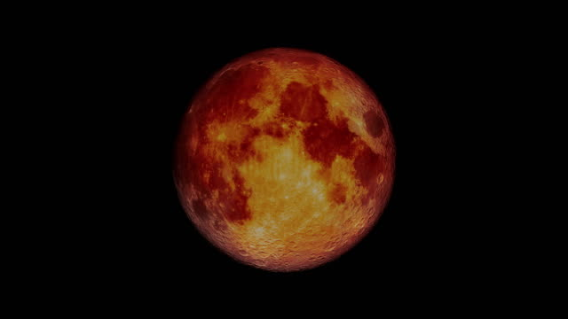total lunar eclipse blood moon - the moon looks red 4k - satellite video stock e b–roll
