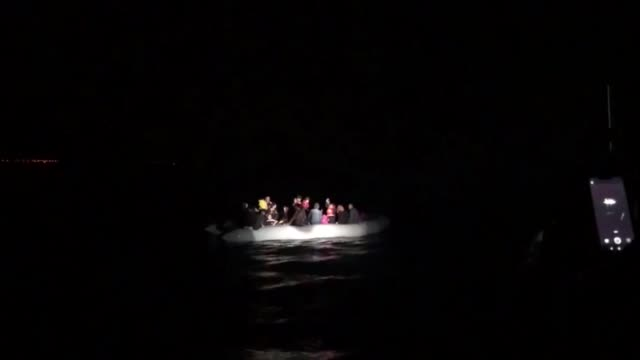 a total of 101 irregular migrants were held by turkish coast guard in the aegean province of aydin turkey on june 18 2019 - mittelmeer stock-videos und b-roll-filmmaterial