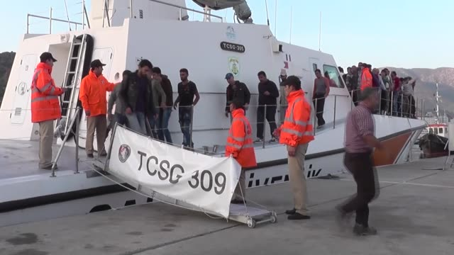 a total of 101 syrian refugees including 20 children are captured off turkey's mediterranean coast while they were trying to reach cyprus illegally... - mediterranean turkey stock videos and b-roll footage