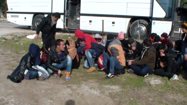 total of 105 migrants and refugees of syrian afghan and moroccan origin who were getting prepared to go to greek island lesbos illegally are seen... - シリア難民問題点の映像素材/bロール