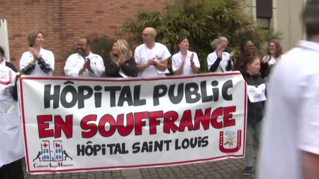 a total of 19 heads of department at the saint louis hospital in paris resign en masse from their administrative duties in protest at government cuts... - saint louis bildbanksvideor och videomaterial från bakom kulisserna