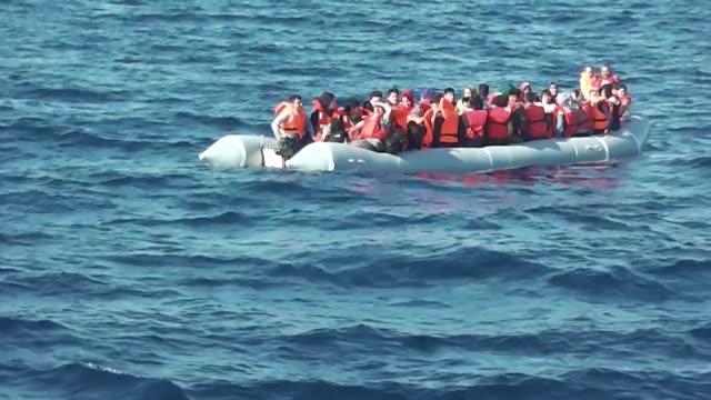 total of 192 irregular migrants were held by turkish coast guard in the aegean province of izmir, turkey on june 08, 2019. - mediterranean sea stock videos & royalty-free footage