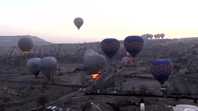 A total of 329390 tourists enjoyed a birdseyeview of famous tourist spot of Cappadocia in Turkey's central Nevsehir province with hot air balloon...