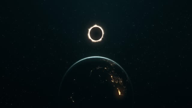 total solar eclipse seen from outer space (vertical movement) - full stock videos & royalty-free footage