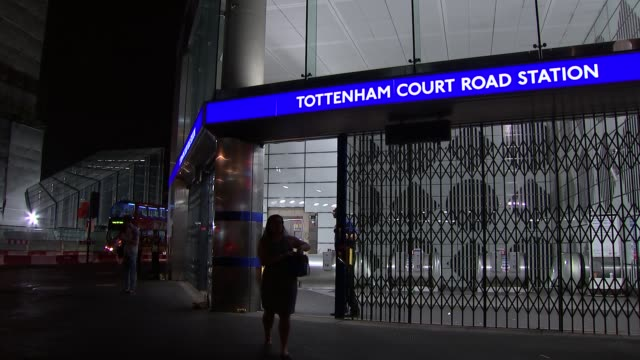 tottenham court road station at night general views; england: london: tottenham court road: ext / night general views tottenham court road tube... - tottenham court road stock videos & royalty-free footage