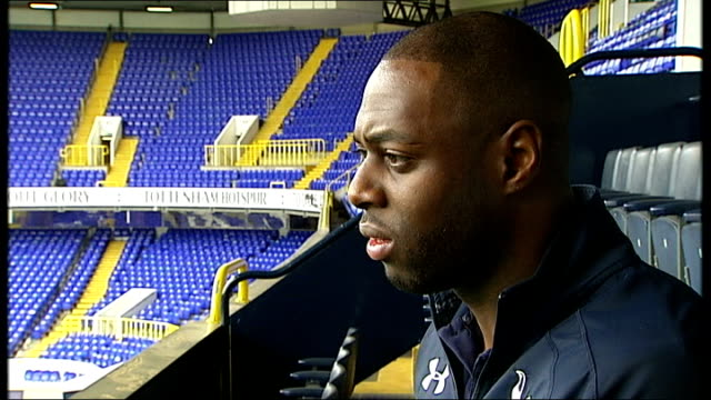 tottenham hotpsur could play an entire season on the road while new stadium is built england london white hart lane ext ledley king interview sot... - tottenham hotspur f.c stock videos & royalty-free footage