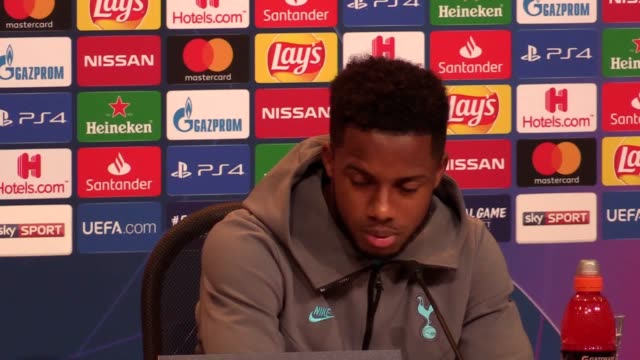 tottenham hotspur midfielder ryan sessegnon speaks at a press conference ahead of the side's champions league game in bayern munich on wednesday - bavaria stock videos & royalty-free footage