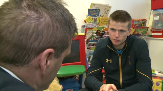 Tottenham Hotspur players sing carols for children at North Middlesex Hospital North Middlesex Hospital INT Eric Dier interview SOT/ Eric Dier and...