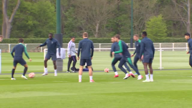 Tottenham Hotspur players taking part in a passing and pressing drill on the training ground before their Champions League semifinal against Ajax