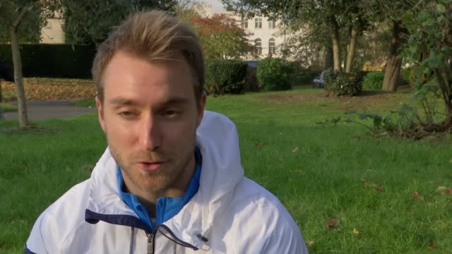 Tottenham Hotspur support Royal British Legion's Poppy Appeal Wood Green Christian Eriksen setup shots with reporter / interview SOT Various shots of...