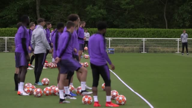 Tottenham Hotspur train ahead of Champions league final against Liverpool Includes shots of Harry Kane Son HeungMin Kieran Trippier Dele Alli Harry...