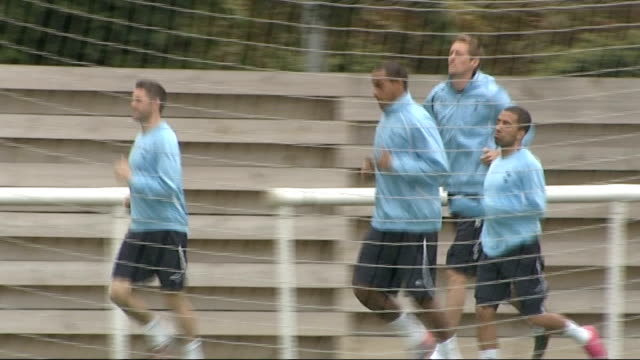 Tottenham Hotspur training session ENGLAND Essex Chigwell EXT General views of Tottenham Hotspur FC players training including Peter Crouch Jermaine...