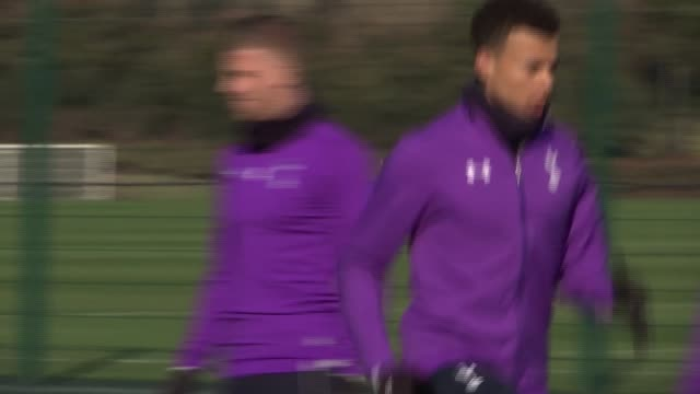 London Enfield EXT Tottenham Hotspurs training Spurs goalkeepers along / Son Heungmin and Christian Eriksen along on training pitch followed by rest...