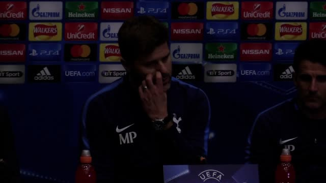tottenham manager mauricio pochettino speaks after his side's 31 champions league victory over borussia dortmund - borussia dortmund stock videos and b-roll footage