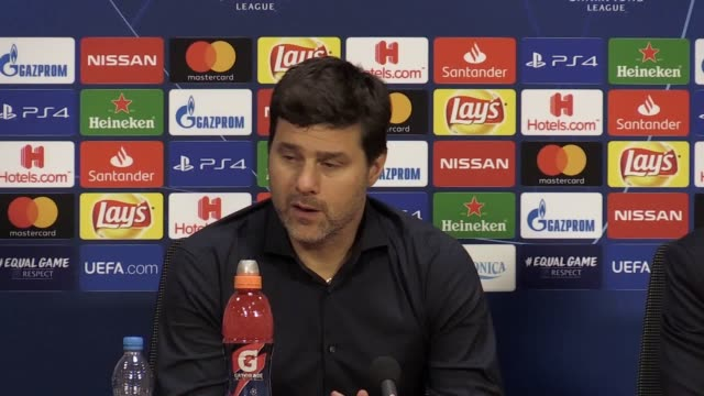 tottenham manager mauricio pochettino speaks after his side's dramatic champions league semi-final win over ajax. lucas moura's injury-time goal saw... - semifinal round stock videos & royalty-free footage