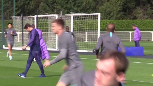 tottenham open training ahead of their champions league match against bayern munich in london - hugo lloris stock videos and b-roll footage