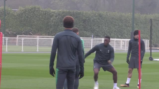 tottenham train ahead of the first leg of their champions league quarterfinal against man city close ups on harry kane dele alli danny rose - soccer competition stock videos & royalty-free footage