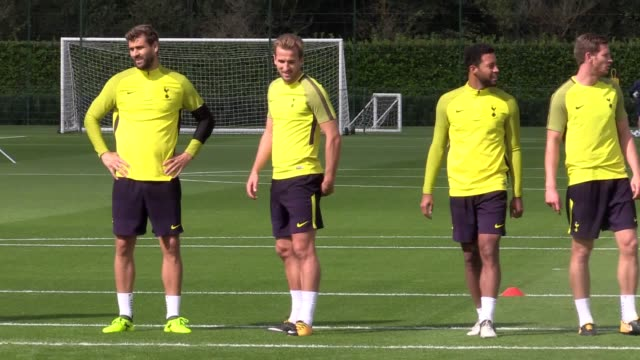 Tottenham train ahead of Tuesday's Champions League match at home to Borussia Dortmund Includes Harry Kane Dele Alli Fernando Llorente Eric Dier and...