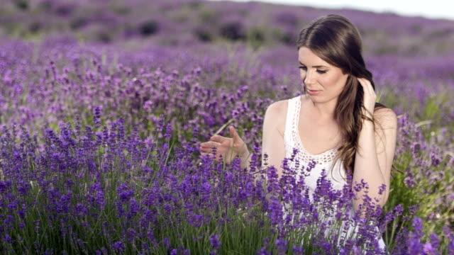 vídeos de stock e filmes b-roll de toque de lavanda flor - perfumado
