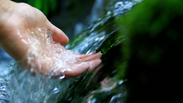 touching a clear stream water - ruscello video stock e b–roll