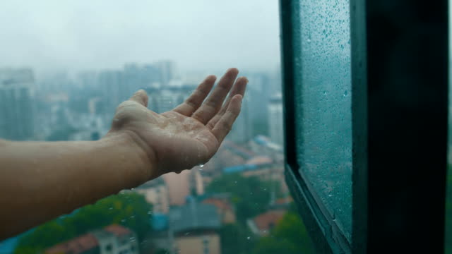 touching city rain through window - catching stock videos & royalty-free footage