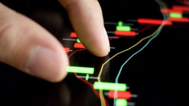 stockvideo's en b-roll-footage met touching stock market graph. - graph