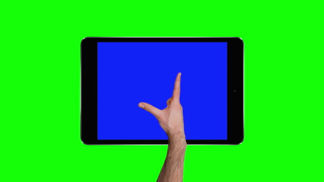 Touchscreen tablet gestures with chroma keys. 4K
