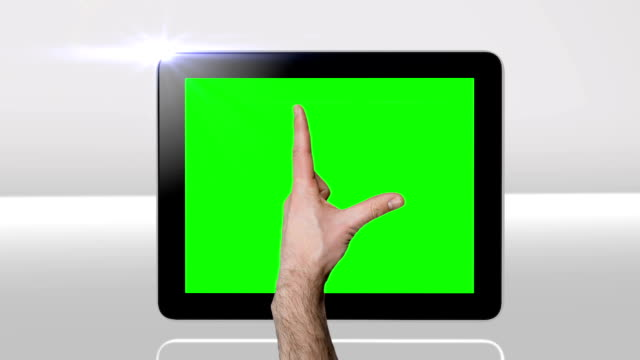 touchscreen tablet gestures with green screen. hd - pinching stock videos & royalty-free footage
