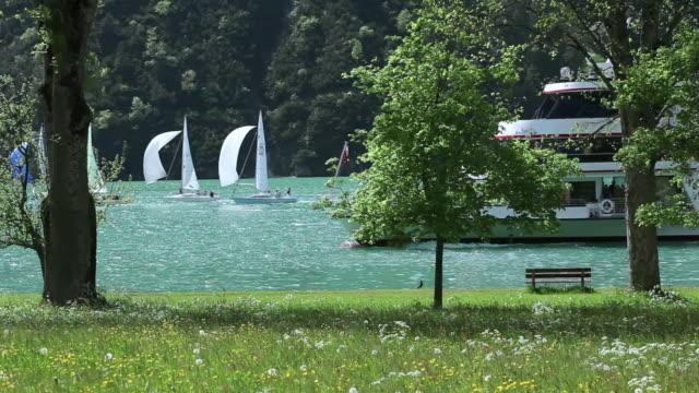 WS Tour boat among sailboats on Lake Achensee / Tyrol, Austria