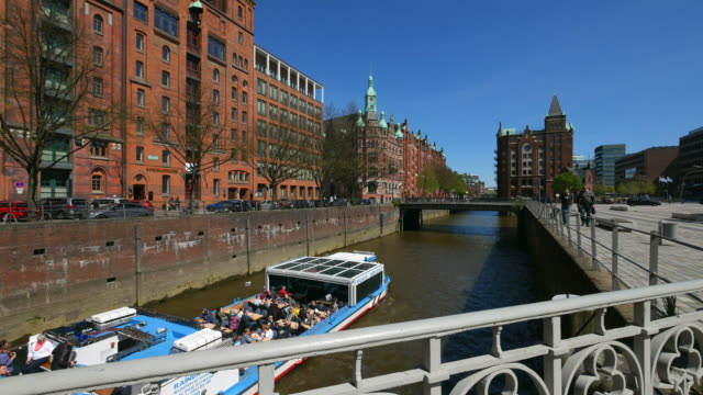 tour boat at Speicherstadt warehouse district, Hamburg, Germany