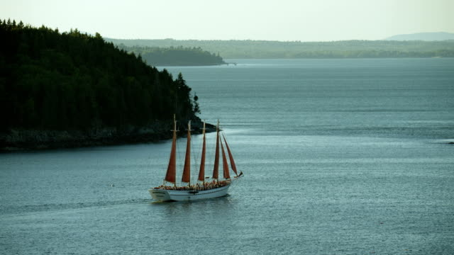 tour boat on frenchman bay in maine - maine stock videos & royalty-free footage