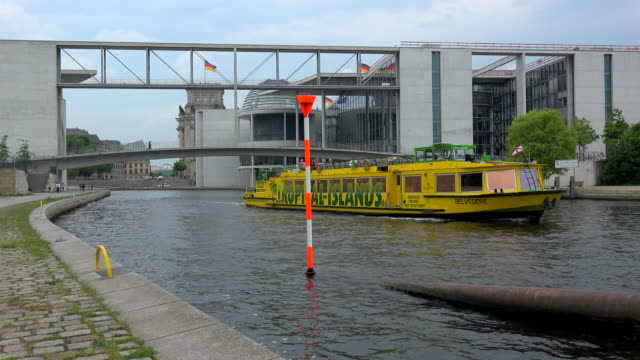 Tour Boat on Spree River with Reichstag, Paul Loebe Building and Marie Elisabeth Lueders Building, Berlin, Germany