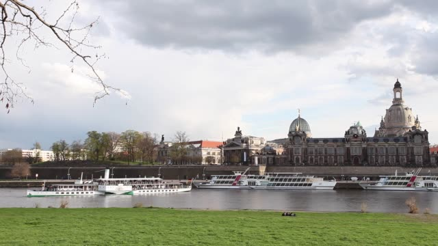 tour boats on elbe river in dresden, germany - dresden frauenkirche stock videos & royalty-free footage