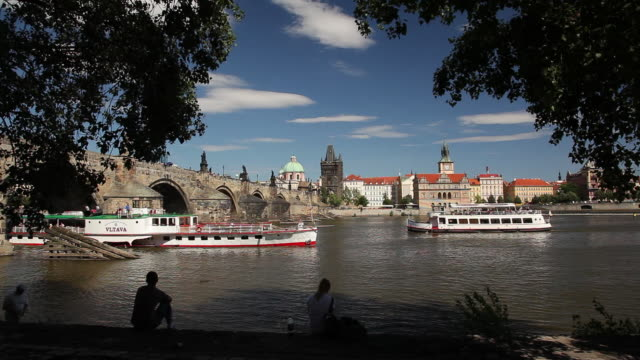 ws tour boats on vltava river / prague, czech republic - river vltava stock videos & royalty-free footage